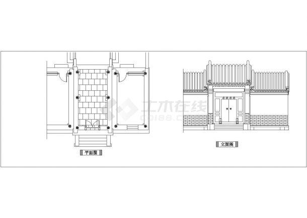 某古典建筑CADCAD全套设计立面建筑图-图二