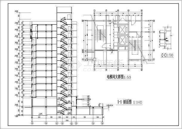 重庆市某中学1.5万平米12层框架结构教学综合楼建筑设计CAD图纸-图二