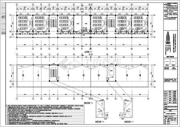 枣庄市某村镇小学2310平米3层框架结构教学楼全套建筑设计CAD图纸-图二