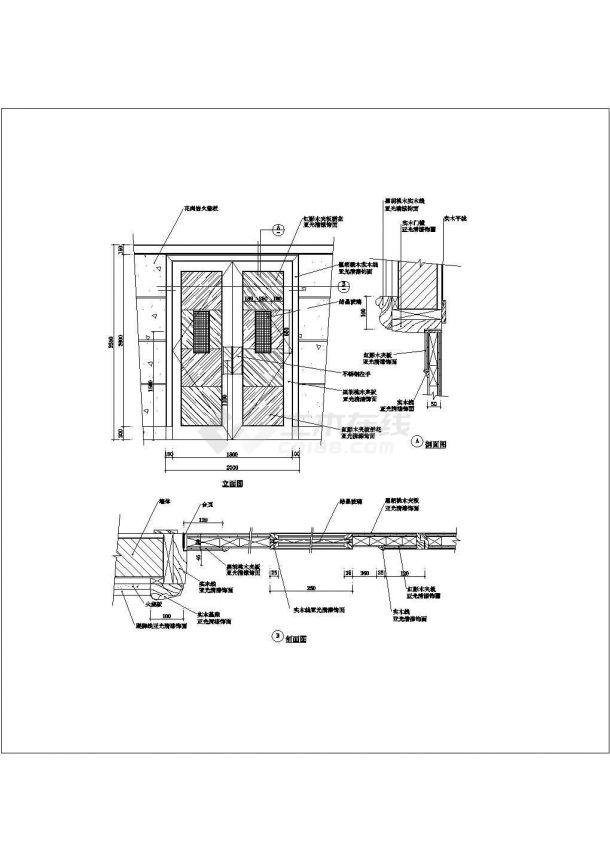 经典住宅楼装修常用门设计cad施工大样图图集-图二