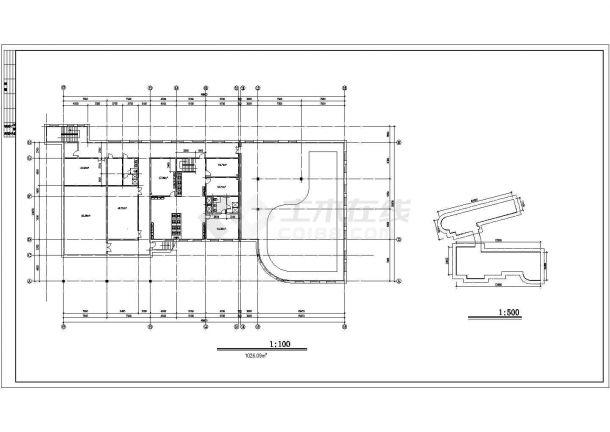 1700平米单层砖混结构商务招待所平立面设计CAD图纸(含地下一层)-图一