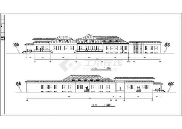 1700平米单层砖混结构商务招待所平立面设计CAD图纸(含地下一层)-图二