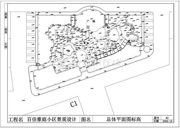 百佳豪庭小区景观设计全套cad 图纸-图二
