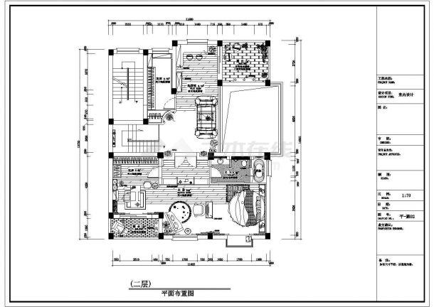 某双层精装别墅装修设计cad施工平面图-图一