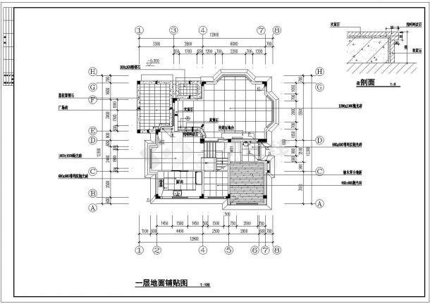 某地区西式别墅装修方案设计施工CAD图纸-图一