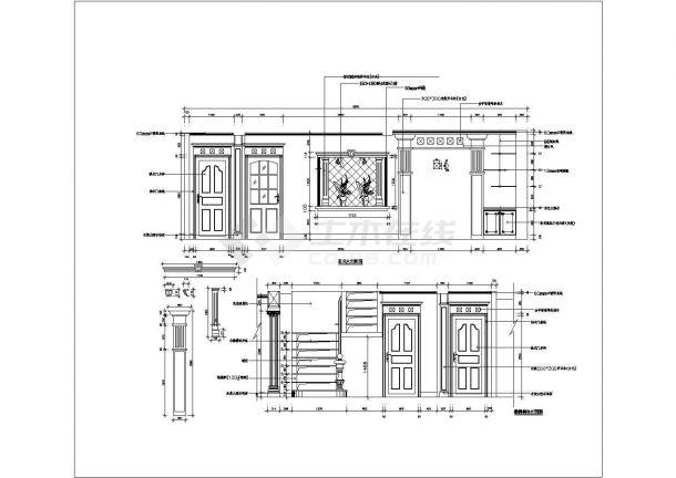 某地区欧式室内设计装修立面方案设计施工CAD图纸-图二