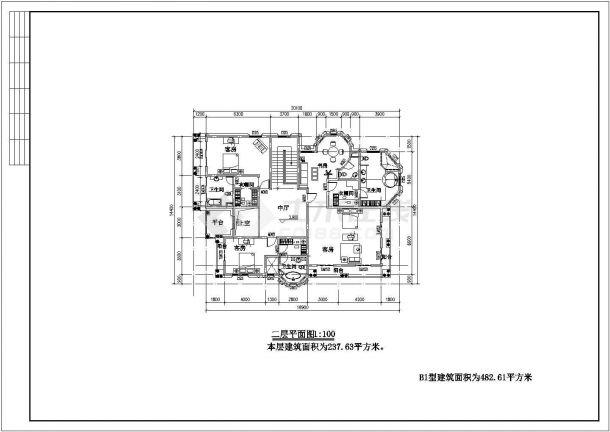 某地区联排别墅住宅建筑方案设计施工CAD图纸-图一