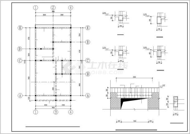 某地区小面宽农村二层建筑方案设计施工CAD图纸-图一
