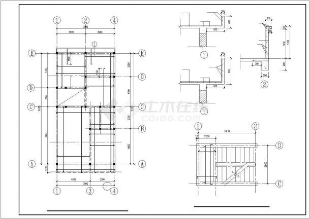 某地区小面宽农村二层建筑方案设计施工CAD图纸-图二