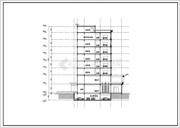 某地区综合性写字楼建筑方案设计施工CAD图纸-图一