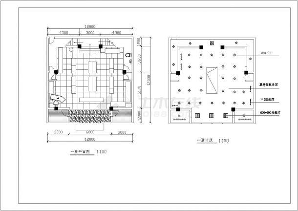 某24平方米小型服装专卖店装修设计cad施工图-图二
