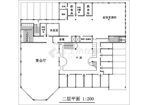 南京市城华路某3890平米2层框架结构中式餐厅全套建筑设计CAD图纸-图二