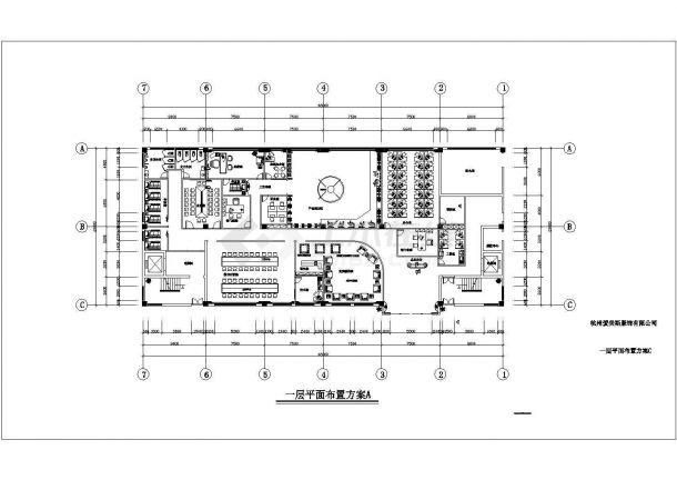 杭州爱美斯服饰有限公司办公楼室内装修设计cad全套施工图-图二