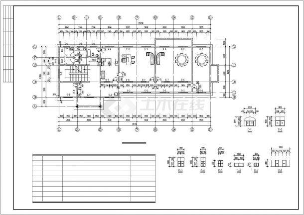 襄阳市某市政单位6100平米三层砖混结构生活服务中心建筑设计CAD图纸-图二