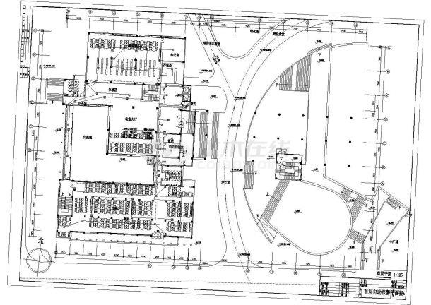 装修设计长93.88米 宽64.65米 地下1地上5层大学图书馆消防电气施工设计图(各层自动报警平面 自动报警系统图 防火卷帘及消防栓泵控制原理图)-图一