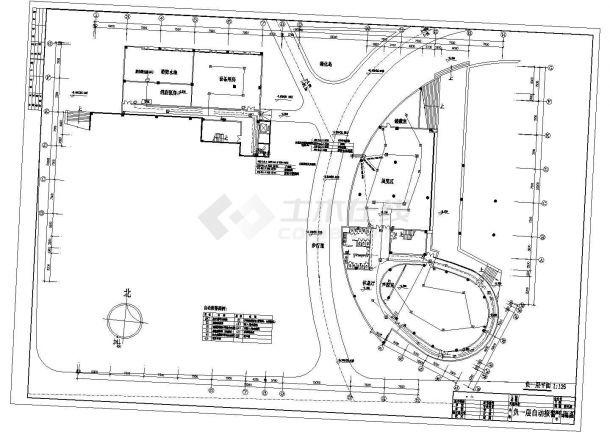 装修设计长93.88米 宽64.65米 地下1地上5层大学图书馆消防电气施工设计图(各层自动报警平面 自动报警系统图 防火卷帘及消防栓泵控制原理图)-图二