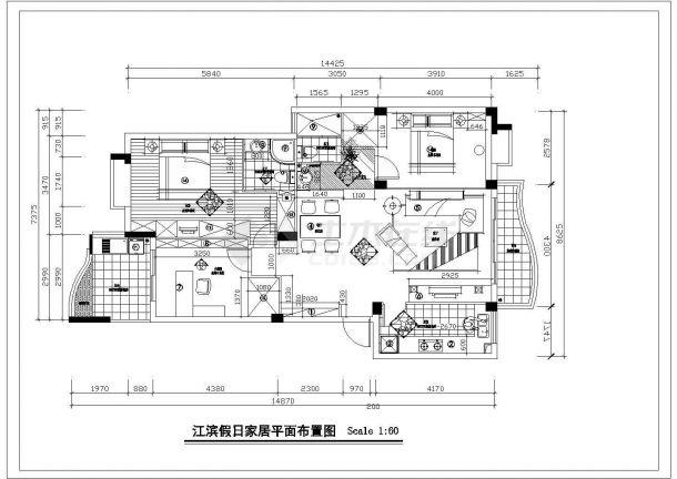 [江滨]大户型家居装修设计cad施工图-图二