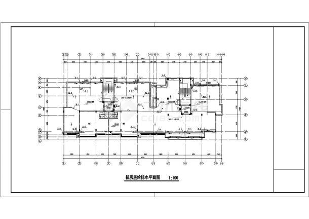 南宁市西苑小区3470平米7层砖混结构住宅楼给排水平面设计CAD图纸-图一