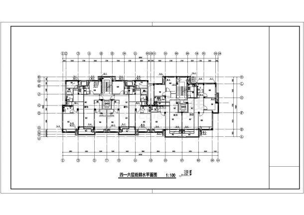 南宁市西苑小区3470平米7层砖混结构住宅楼给排水平面设计CAD图纸-图二