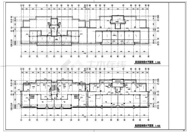 漳州市金银岛花园小区7层砖混住宅楼给排水消防平面设计CAD图纸-图一