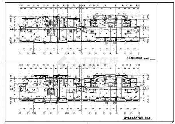漳州市金银岛花园小区7层砖混住宅楼给排水消防平面设计CAD图纸-图二