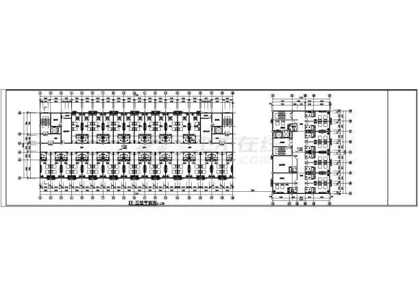 杭州金色港湾小区1.6万平米6层住宅楼给排水自喷平面设计CAD图纸-图二