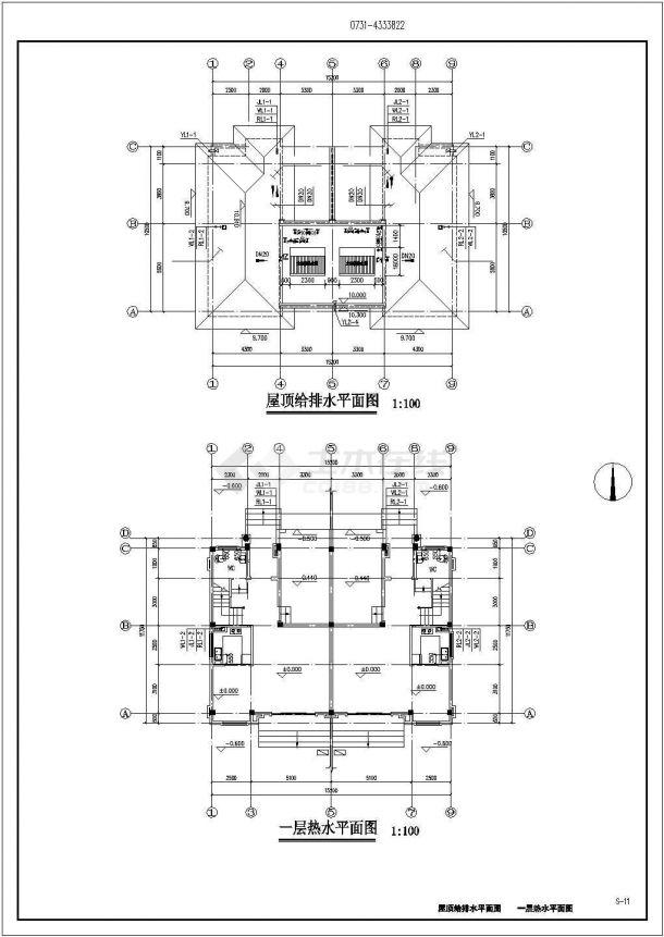 太仓浏河真某小区434平米3层砖混结构住宅楼给排水平面设计CAD图纸-图二