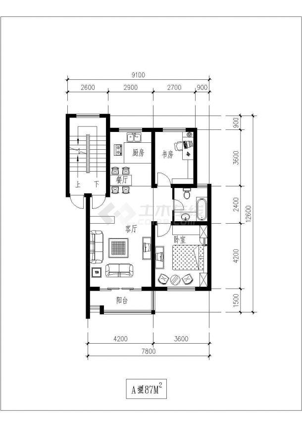 全屋定制某小区经典独户型平面【含效果图,设计说明】-图一