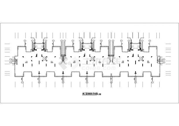 哈尔滨市滨江花园小区6层砖混住宅楼给排水平面设计CAD图纸(含阁楼)-图二
