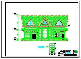 实木材质北美式结构别墅cad建筑设计图-图二