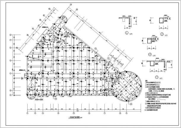 浏阳小区会所设计结构建筑施设计全套施工cad图-图二