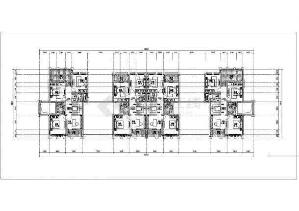 溧阳市某小区3400平米三层砖混结构双拼式住宅楼平面设计CAD图纸-图一