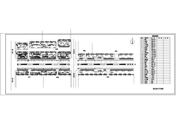 榆树市道路绿化景观设计规划平面cad图纸,共两张-图一