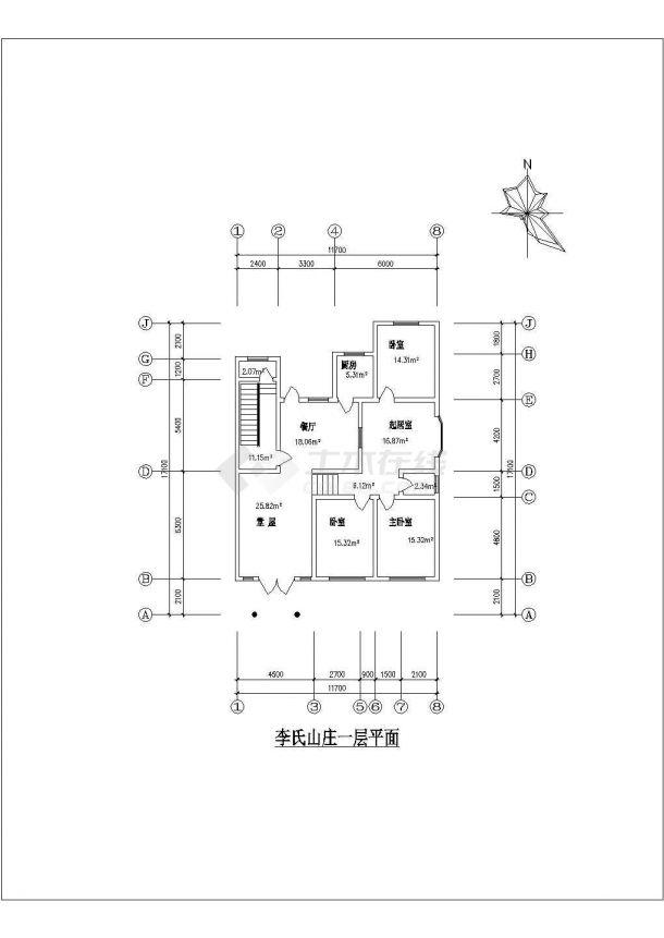 农家2型住宅建筑设计全套施工cad图-图一
