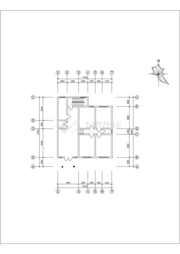 农家2型住宅建筑设计全套施工cad图-图二