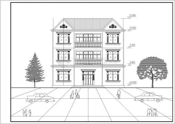 三套三层住宅立面建筑设计全套施工cad图-图一