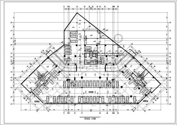 杭州御澜路某五层框架结构购物商场全套平面设计CAD图(含地下室)-图一