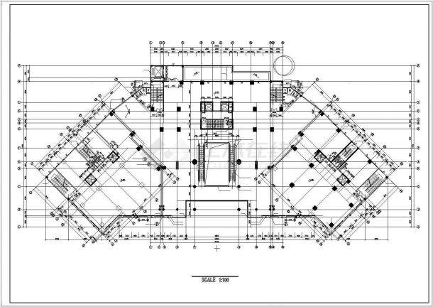 杭州御澜路某五层框架结构购物商场全套平面设计CAD图(含地下室)-图二