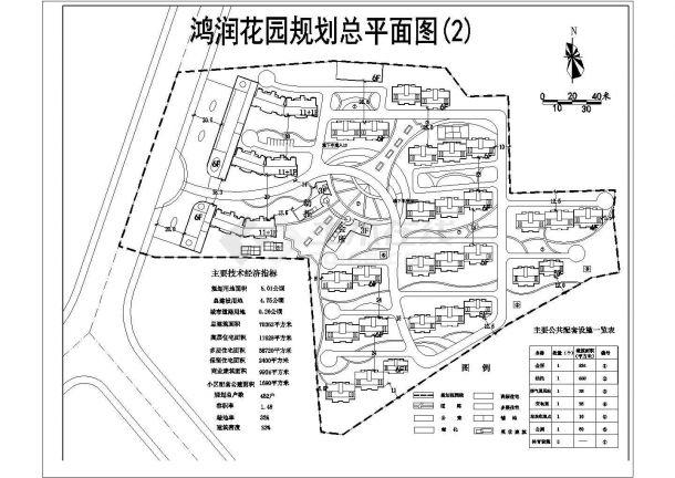 崇州市翔金路鸿润家园小区总平面规划设计CAD图纸(占地5公顷/2套方案)-图二