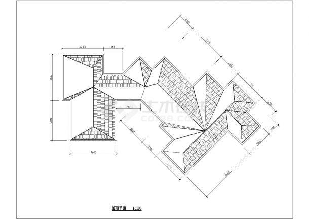 宝鸡市太白山景区内部2层砖混结构休闲会馆全套建筑设计CAD图纸-图二