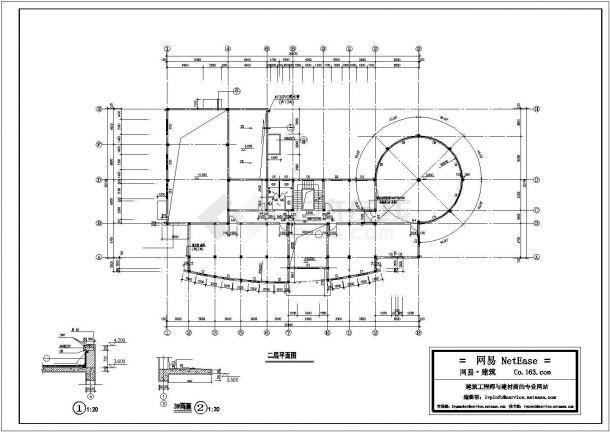 苏州市桃坞雅园小区1500平3层钢混框架结构业主会所建筑设计CAD图纸-图一