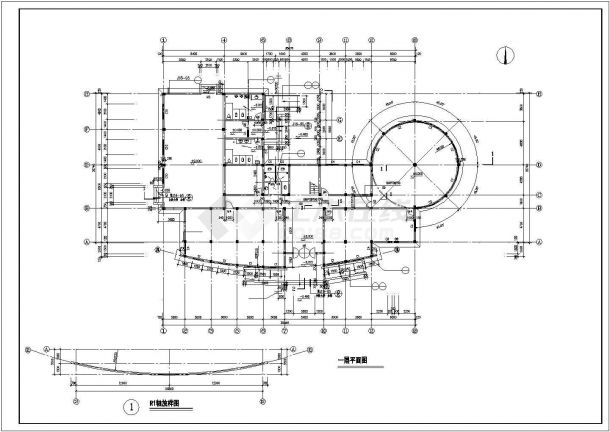 苏州市桃坞雅园小区1500平3层钢混框架结构业主会所建筑设计CAD图纸-图二