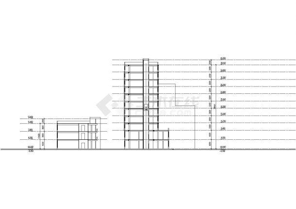 沈阳市清塘路某11层框架结构高档酒店会所全套建筑设计CAD图纸-图一