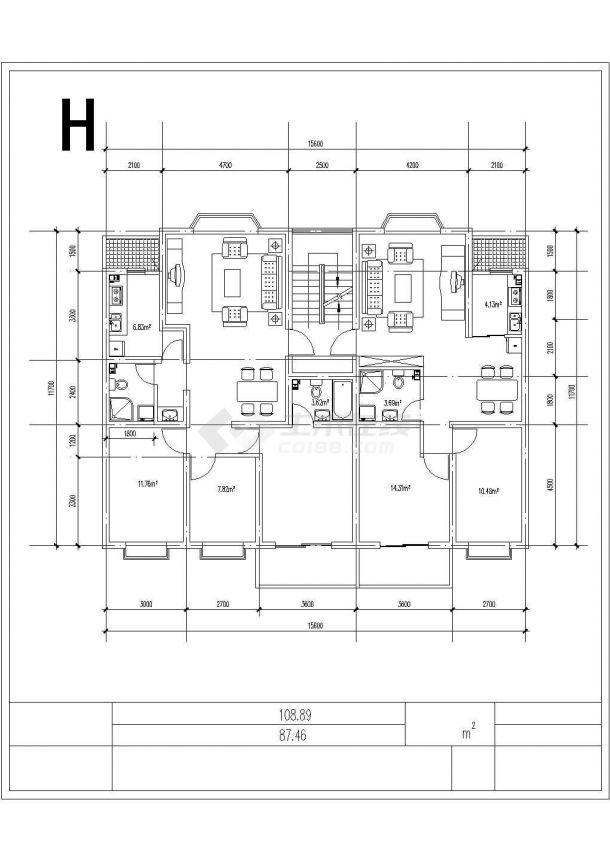 合肥市大通花园小区经典热门的平面户型设计CAD图纸(共9张)-图一