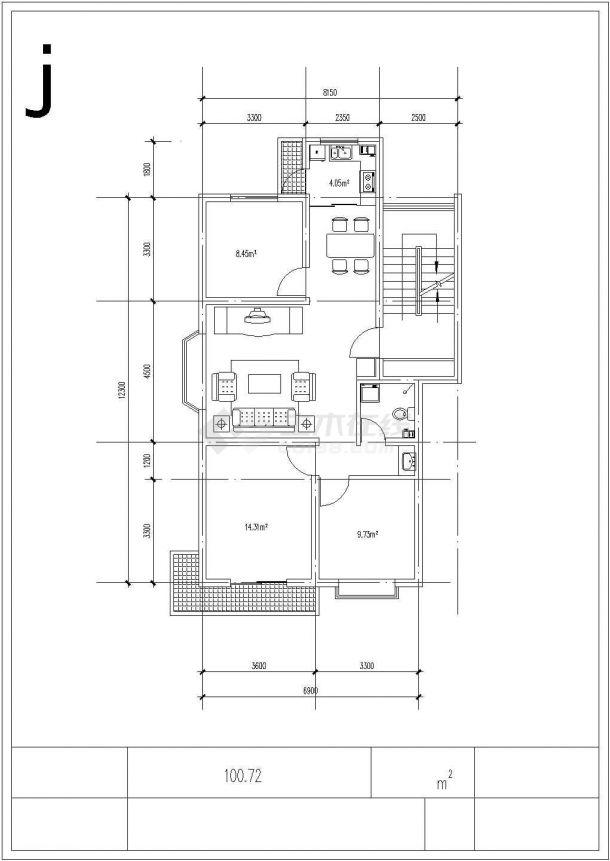 合肥市大通花园小区经典热门的平面户型设计CAD图纸(共9张)-图二