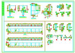 单层全钢结构多跨带吊车厂房cad施工图纸-图一