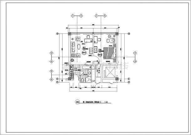 成都市南沈路某高档商务酒店全套客房平面设计CAD图纸-图二