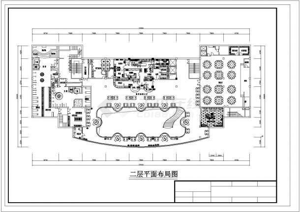 苏州市澄帆路某高档商务酒店3层大堂全套平面布局设计CAD图纸-图二