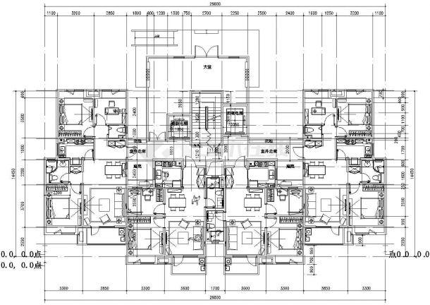 某城市标准化住宅建筑户型设计施工CAD图纸-图二