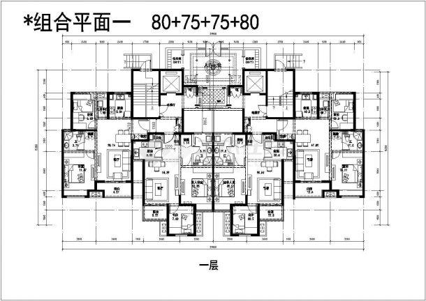 某城市高层建筑户型及组合平面设计施工CAD图纸-图一